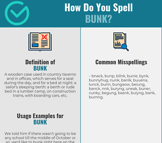 Correct spelling for bunk