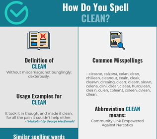 Correct spelling for clean