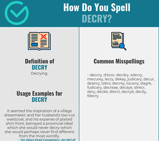 Correct spelling for decry