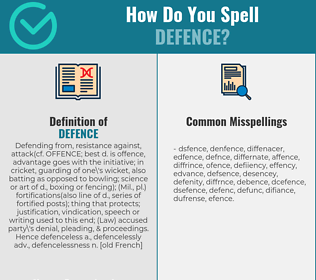 Correct spelling for defence