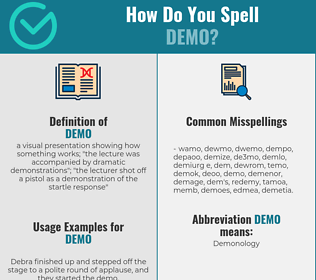 Correct spelling for demo