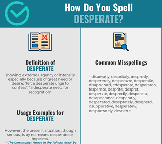 Correct Spelling For Desperate Infographic Spellchecker Net Beside meaning and definition for word desperate, on this page you can find other interesting information too, like synonyms or related words. correct spelling for desperate