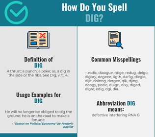 Correct spelling for dig