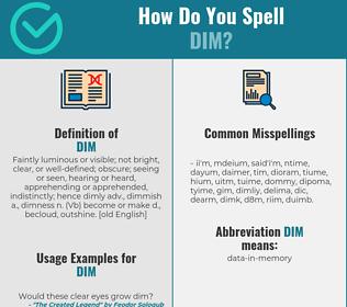 Correct spelling for dim