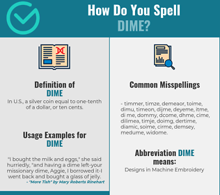 Correct spelling for dime