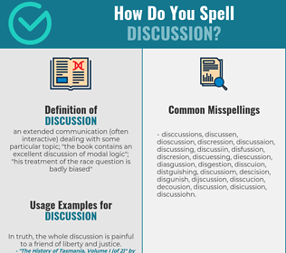 Correct spelling for discussion