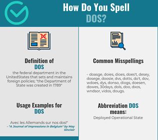 Correct spelling for dos