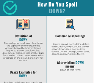 Correct spelling for down