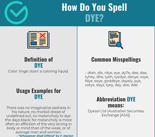 Correct spelling for dye