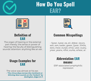 Correct spelling for ear