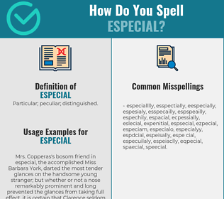 Correct spelling for especial