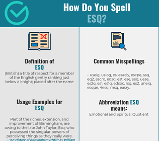 Correct spelling for esq