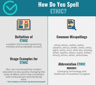 Correct spelling for ethic