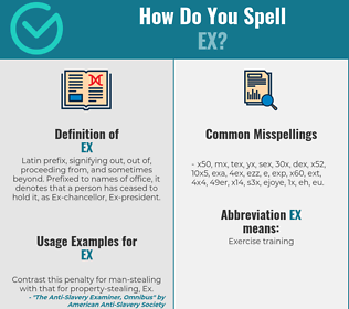 Correct spelling for ex