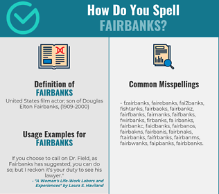 Correct spelling for fairbanks