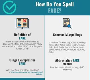 Correct spelling for fake
