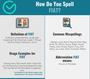 Correct spelling for fiat