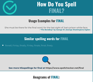 Correct spelling for final