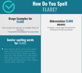 Correct spelling for flare