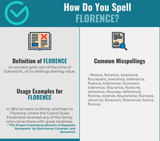 Correct spelling for florence