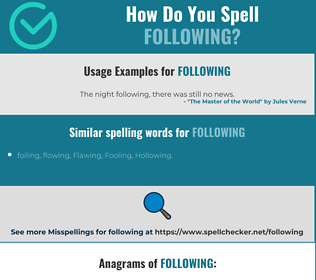 Correct spelling for following