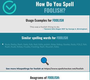 Correct spelling for foolish