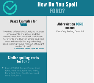 Correct spelling for ford
