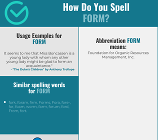 Correct spelling for form