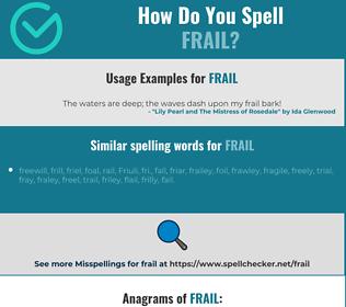 Correct spelling for frail