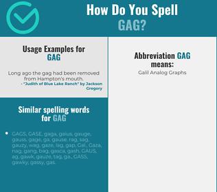 Correct spelling for gag
