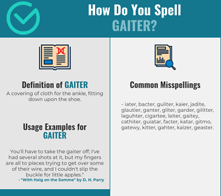 Correct spelling for gaiter