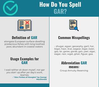 Correct spelling for gar