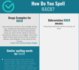 Correct spelling for hack
