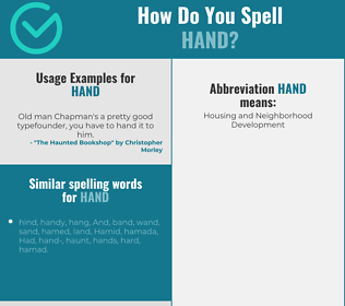 Correct spelling for hand