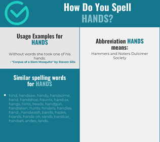 Correct spelling for hands