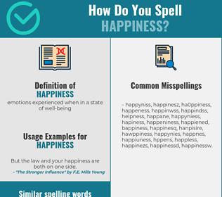 Correct spelling for happiness