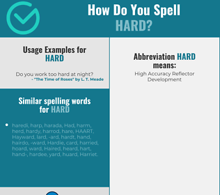 Correct spelling for hard