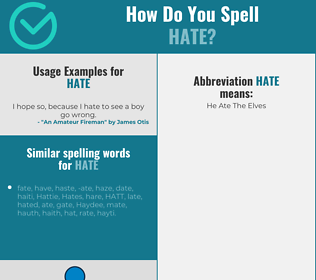 Correct spelling for hate
