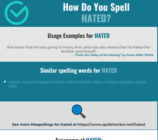 Correct spelling for hated