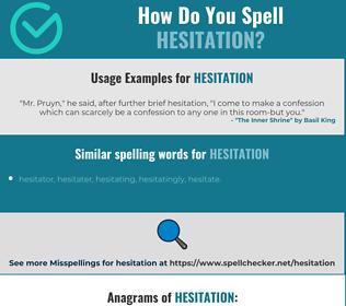 Correct spelling for hesitation