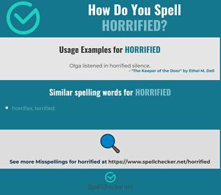 Correct spelling for horrified