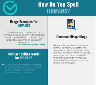 Correct spelling for humans