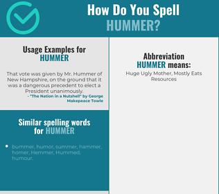 Correct spelling for hummer