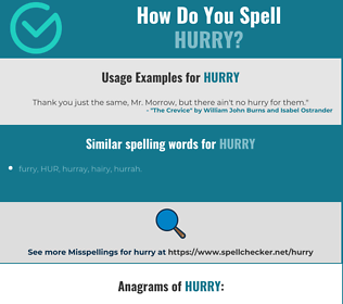 Correct spelling for hurry