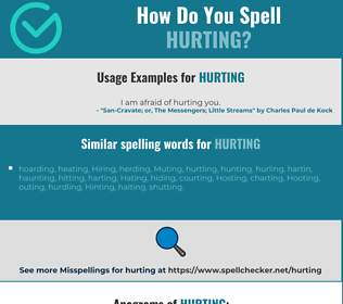 Correct spelling for hurting