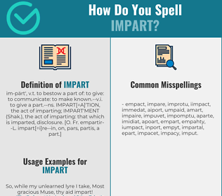 Correct spelling for impart