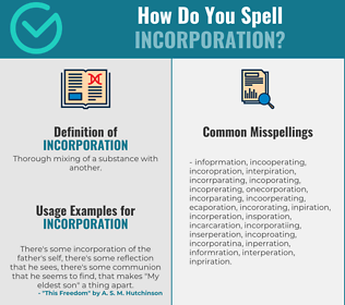 Correct spelling for incorporation