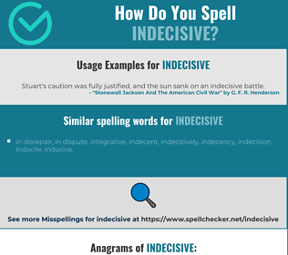 Correct spelling for indecisive