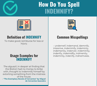 Correct spelling for indemnify