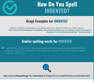 Correct spelling for indented